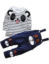 CHIC-CHIC Ensemble Salopette avec Haut Longues Manches Bébé Garçon Fille Panda Rayure Haut T-shirt Mignon