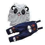 CHIC-CHIC Ensemble Salopette avec Haut Longues Manches Bébé Garçon Fille Panda Rayure Haut T-shirt Mignon 18-24mois Navy