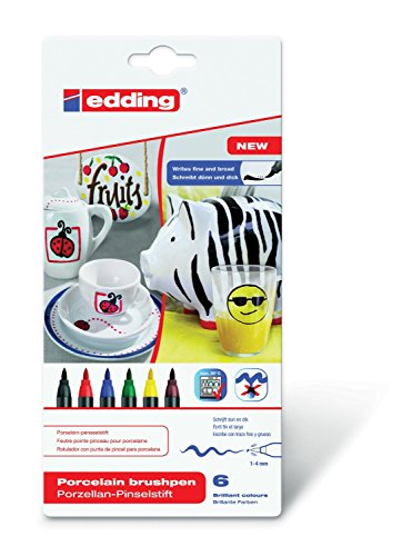 Porzellan-Pinselstift edding 4200, 6er-Set, 1 - 4 mm, family colour Set