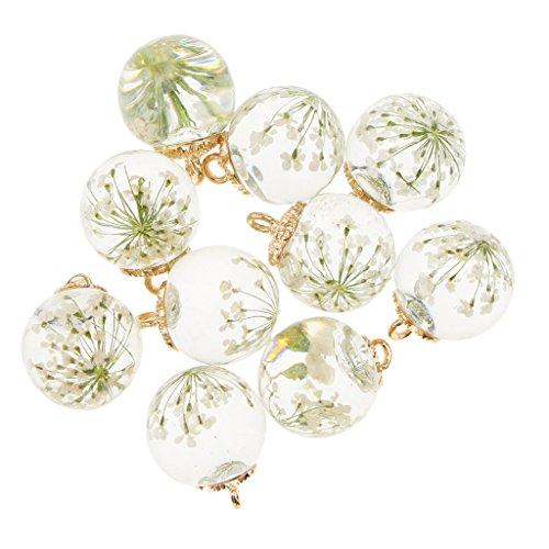10 pcs fiore secco ciondolo palla di vetro orecchino fai da te ciondola mestiere - bianca