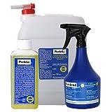Solariendesinfektion 'Perfekt Clean Konzentrat' 250 ml plus 10 Liter Leerkanister mit Auslaufhahn und Sprühflasche für 1 L Lösung - Flächendesinfektion