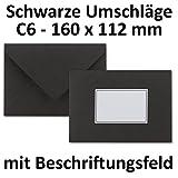 50x schwarze Spezialumschläge DIN C6 | Mit Beschriftungsfeld | 160 x 112 mm | Naßklebung | 80 g/m² | Trauerumschläge-Briefhüllen-Kartenumschläge-Kuverts