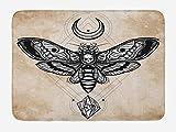Fantasy Bath Mat, Dead Head Hawk Moth with Luna and Stone Spiritual Magic Skull Illustration, Plush Bathroom Decor Mat with Non Slip Backing, 23.6 W X 15.7 W Inches, Black White Cream
