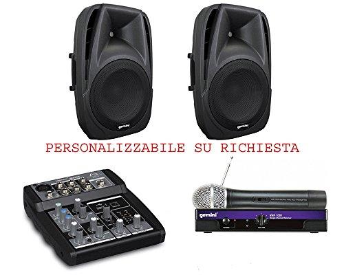 Karaoke 818 PACK - Coppia diffusori amplificati 500w + microfono radio + mixer 2 canali microfonici