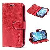 Mulbess Ledertasche im Ständer Book Case / Kartenfach für Samsung Galaxy S4 Tasche Hülle Leder Etui,Wine Rot