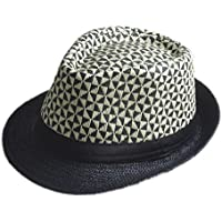 Sunny&Baby Femmes Summer Fedora chapeau Hommes Trilby Beach Sun Straw Panama Chapeau Lady Bonnet d'église Gentlemen Sunbonnet Mode (Couleur : Noir, Taille : 58cm)
