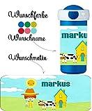wolga-kreativ Trinkbecher Trinkflasche Bauernhof Junge mit Namen Kindergarten Schule