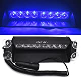 Aeman 8 LED Car Strobe Warning Lights Emergency Police Lamp Flashing Lights with 4 Suction Cups for Vehicle Truck Trailer Camper Van (Blue)