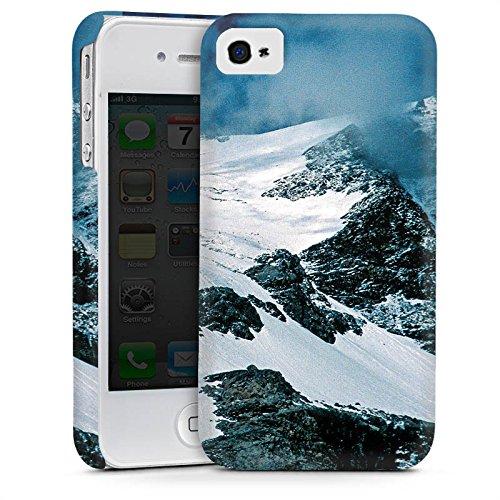 Apple iPhone 4 Housse Étui Silicone Coque Protection Montagne Montagnes Neige Cas Premium mat
