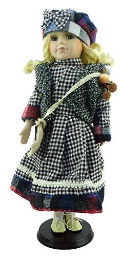 Muñeca de porcelana La colección de Shannon - varios trajes del vintage (vestido de la tela escocesa con el sombrero del arco (B))