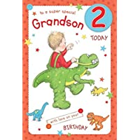 Super Special Grandson Age 2 - Large Luxury 2nd Birthday Card