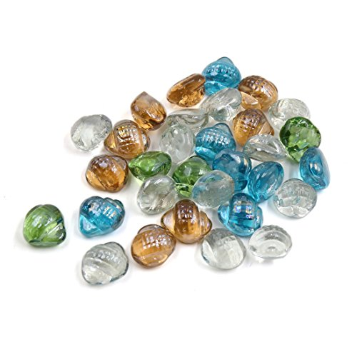 28mm Perle (sourcingmap® 500g Mehrfarbig Glas Konch Form Aquarium Dekor Kieselstein Perle Steine)