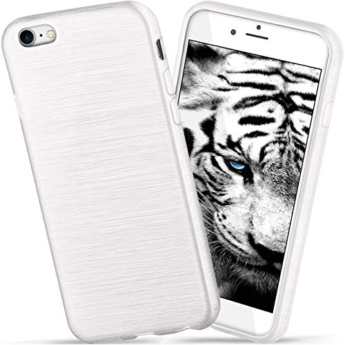 moex Apple iPhone 7/8 | Hülle Silikon Weiß Brushed Back-Cover TPU Schutzhülle Ultra-Slim Handyhülle für iPhone 7/8 Case Dünn Silikonhülle Rückseite Tasche