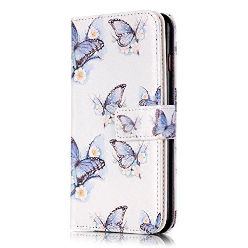iPhone 6 Plus Hülle,iPhone 6S Plus Ledertasche - Felfy luxury Book Style PU Leder Brieftasche Flip Cover in Lederoptik mit Standfunktion Karteneinschub und Magnetverschluß Farbe Retro-Muster Schmetter Eleganter Schmetterling