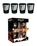 Attack On Titan Shot Glass 4 Pack manga Symbols Nue offiziell Grün Boxed 2oz