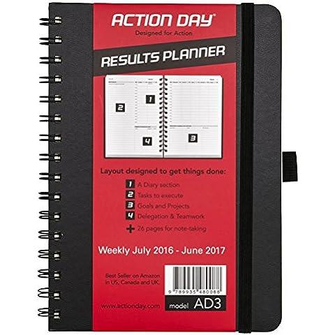Action Day - Calendario planning per anno accademico 2016-2017, giornaliero, settimanale, mensile, annuale, agenda organizer e obiettivi, progettato per stabilire obiettivi e fare cose, 8 x 6, cavo a spirale, colore: nero