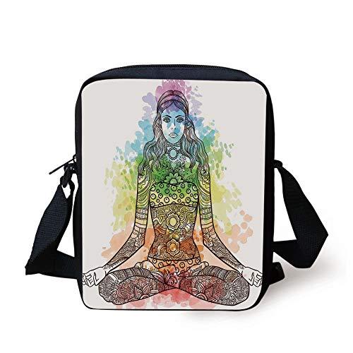 Yoga,Tattoo Mehndi Style Vintage Ornate Woman Figure in Lotus Pose Chakra Aura Watercolor Decorative,Multicolor Print Kids Crossbody Messenger Bag Purse