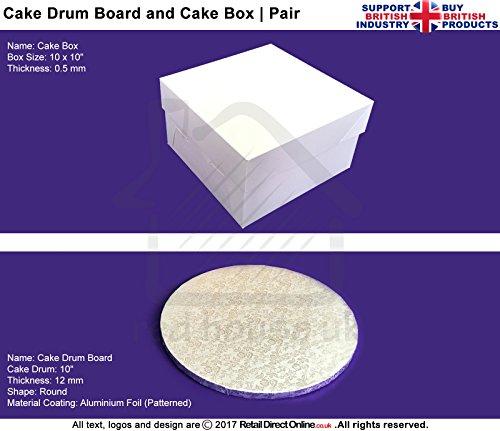 COMBO Deal | Kuchen Box + Deckel + Runde Kuchenplatte Board | 25,4x 25,4cm | Premium Qualität | Kostenloser Versand | Kuchen dekorieren Craft