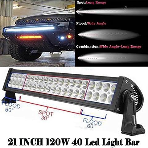 120W 53,3cm LED Lampe de travail Barres Super Bright spot/Flood Combo travail Conduite lampe pour Offroad 4x 4WD SUV Jeep Bateau tracteur restauration camionnette Camion Grue