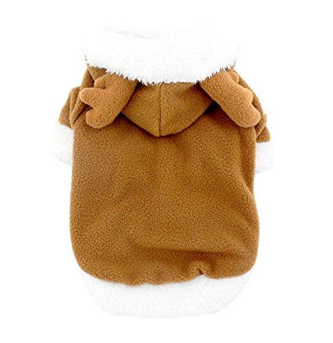 smalllee _ Lucky _ store Rentier klein Hund Katze Kostüm Fleece Hoodie Chihuahua Hundemantel Jacke Pet Halloween Kleid bis (Eine Kostüme Ihrem Halloween In Richtung)