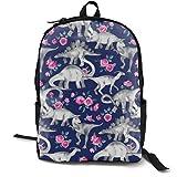 Dinosaurs and Roses On Dark Blue Purple Adult Premium Travel Backpack, Water-Resistant College School Bookbag, Sport Daypack, Outdoor Rucksack, Laptop Bag for Men&Women