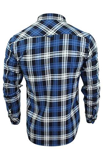 Herren gedrucktes Flannelmuster Hemd von Tokyo Laundry 'Carlsson' True Blue