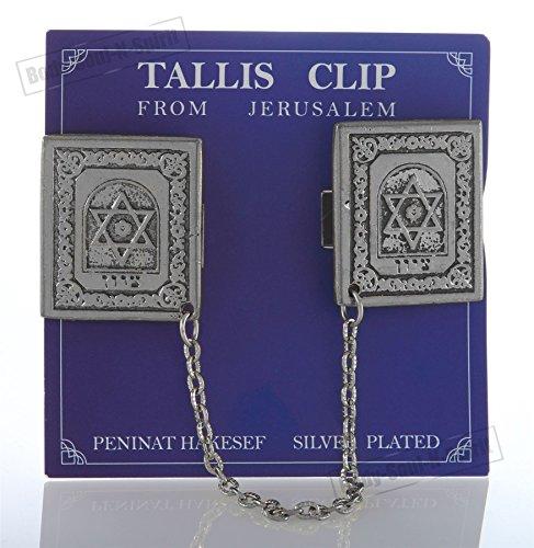 """Versilberte Tallit Clips""""ZION-KRONE"""" Judaica Zubehör Geschenkidee aus Israel"""