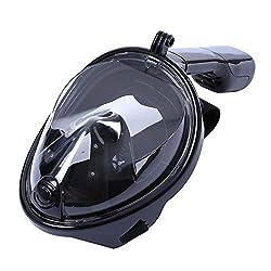 MOYUN Neu Vollmaske Schnorchelmaske Schnorchelset Taucherbrille Tauchermaske für GoPro (Schwarz, L/XL)
