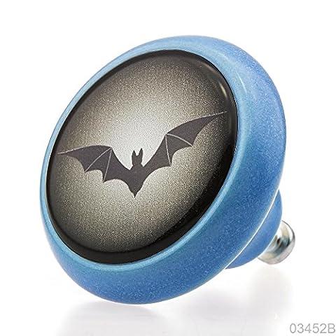 Qualité supérieure Bouton Meubles Céramique 03452B BrK-Bleu-208 Bat pour les enfants & adultes - 3D Effet -100% Fabriqué en Allemagne - Knobs4Kids