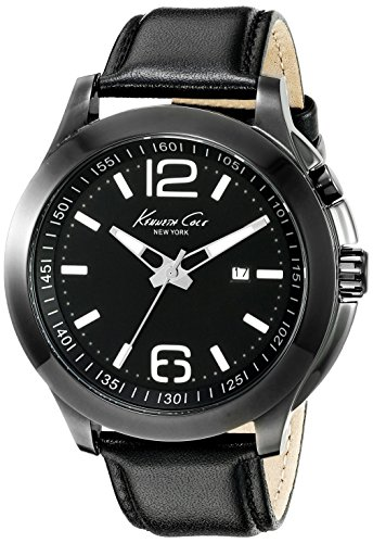 KENNETH COLE MEN'S COLE NEW 45MM LEATHER BAND STEEL CASE QUARTZ WATCH 10022558