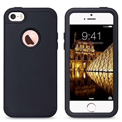 iPhone 5s SE Hülle, ULAK iPhone 5S Case 3in1 Stoßfest Hybrid High Impact Hart PC und Weiche Silikon Schutzhülle Tasche Case Cover für Apple iPhone 5c/5/5s/SE (Roségold) Schwarz