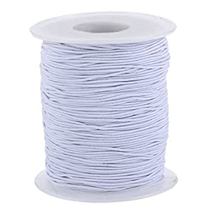 Elastic Cord Stretch Thread Beading Cord Fabric Crafting String, 0.8 mm, White (100 Meters)