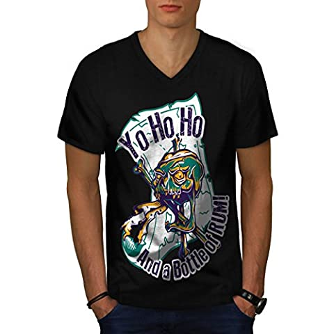 Rum Bottle Fun Pirate Skull Ghost Men NEW Black L V-Neck T-shirt | Wellcoda