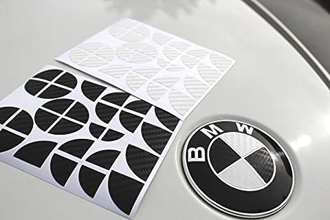 BMW Carbon Emblem Ecken mit Varrianten (Carbon Schwarz Weiß)