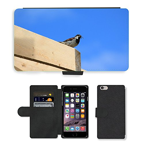 Just Mobile pour Hot Style Téléphone portable étui portefeuille en cuir PU avec fente pour carte//m00139879 Sparrow oiseaux Sperling Alimentation Animal//Apple iPhone 6 Plus 14 cm