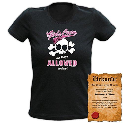Fun T-Shirt 4 Girls ::: Girls Crew ::: Damen Top mit Urkunde Schwarz