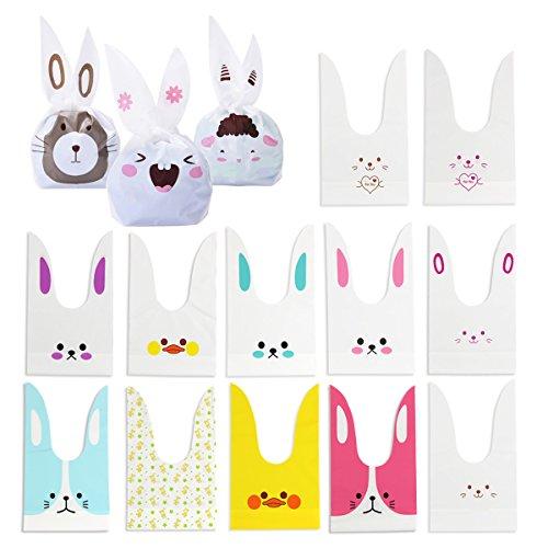 en Beutel 100PCS Plätzchen Candy Tüten Bunny Süße Partytüte Hasen für Hochzeit Geburtstag Halloween Plastiktüten ()
