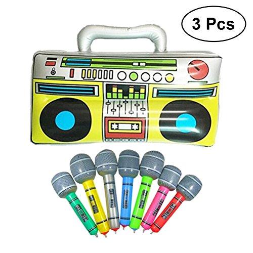 80er Rock Pop Kostüm Jahre - TOYMYTOY 42 cm Aufblasbare Musical Radio + 2 Stücke Mikrofon Instrumente Aufblasbare Requisiten Spielzeug für Party Favors