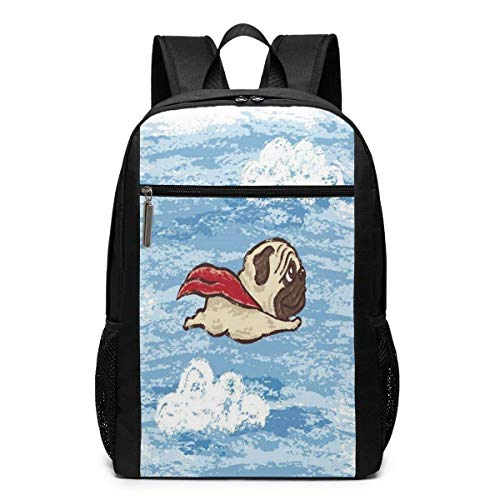 TRFashion Rucksack Flying Pug 17 Inch Slim Laptop Backpack for Business &Outdoor Activities Schoolbag Book Bag for Men Women Black - Notebook-tasche Spade Kate