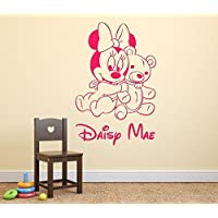 Bebé Minnie Mouse y Osito de Peluche Chicas Personalizado Nombre Mural Pegatina de Pared