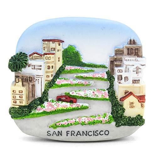 Lombard Street San Francisco Kalifornien USA Amerika 3D Handgemalter Harzmagnet Golden Gate Bridge Insel Alcatraz Golden Gate Park PIER 39 Palast der schönen Künste Twin Peaks Painted Ladies