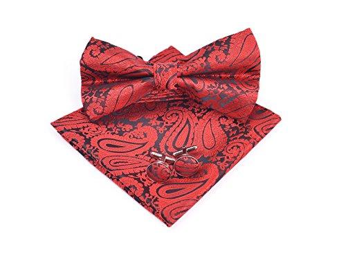 Massi Morino ® Paisley Fliegen Set - Herrenfliege in verschiedenen Farben (Rot) rotfarben paisley paisleyfarben kirschrot paisleymuster rotefliege paisleyfliege red paisleymotiv Rote Paisley Bowties