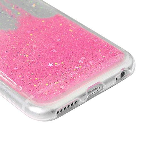 iPhone 6 Hülle Case, iPhone 6S 4,7 Zoll Schutzhülle YOKIRIN TPU Silikon Schutzhülle Handyhülle Vertiefte Sterne Glitter Pailletten Handytasche Schale Etui Backcover Rückseite Protective Shell Telefon  Rosa