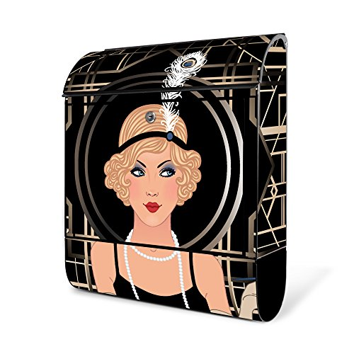 banjado - schwarzer Briefkasten aus Stahl mit Zeitungsfach 38x42x11cm Postkasten Motiv Flapper Girl, Briefkasten schwarz mit silbernem (Flapper Schwarzes Girl)