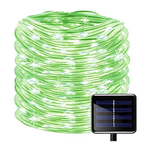 SUNSEATON Solar Lichtschlauch, 100 LEDs 39ft / 12M Wasserdicht Solar String Kupferdraht Licht, Outdoor Seil Lichter für Garten Hof Pfad Zaun Baum Hochzeit Dekorativ (Grün) (Seil-beleuchtung 12 Meter)
