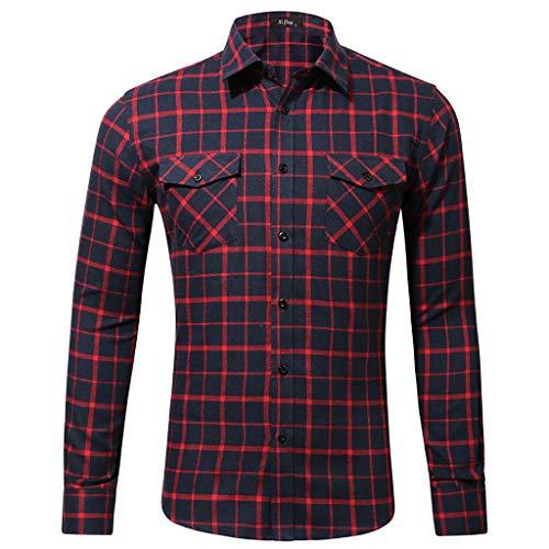 Xmiral Herren Bluse Art und Weise beiläufige Langarmhemd Taschen Lattice Bedruckte T-Shirt ()