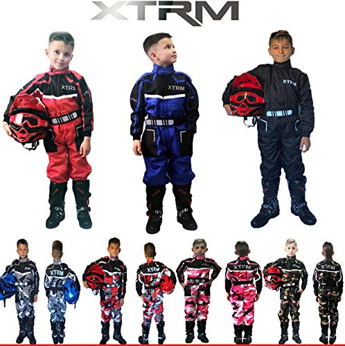 Kinder Kart Anzug XTRM Motorrad Quad Off-Road Suit Kinder Cross Sports Rennanzug für Motocross, Dirt Bike MX ATV PITBIKE Kart Motorroller Overall (Camo Rosa,S)