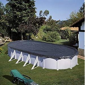 Gre CIPROV731 - copertura invernale per piscina ovale o forma di otto da 730 x 375 cm colore nero