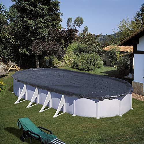 Gre CIPROV611 - Cobertor de Invierno para Piscina Ovalada o en Forma de Ocho de 610 x 375 cm, Color Negro