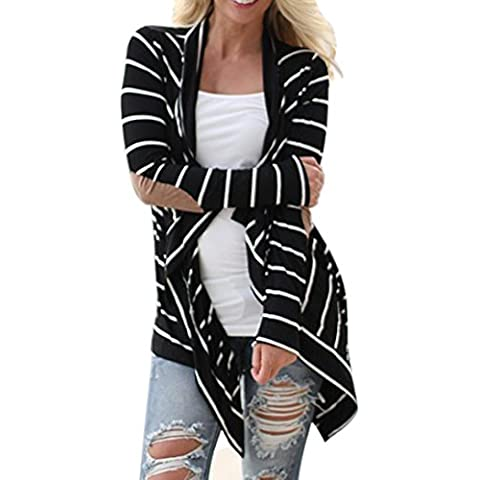 Fortan Le donne casuale a maniche lunghe a righe Cardigan Patchwork Outwear
